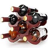 Estante de madera para vino de pie libre - Portabidones de madera dura 6...