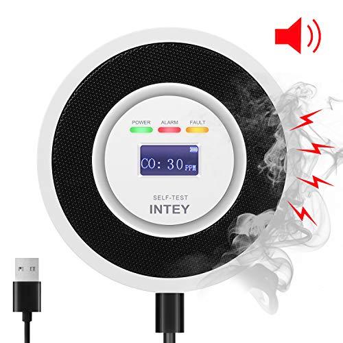 INTEY CO Melder, Kohlenmonoxid Warnmelder | Alarm mit 85db + Licht | Anzeige der CO Konzentration + Leistung | Batterie + USB-Aufladung, Prüftaste/Wahrnehmbar innerhalb von 20㎡