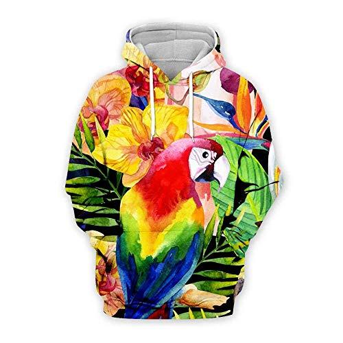 yyqx container Sweat-Shirt à Capuche 3D Parrot Hoodies d'impression 3D Unisexe Manches Longues Sweat-Shirts Respirants Cordon de Serrage réglable avec Poche Kangourou-Couleur de Poche , 7XL