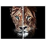 2pcs / Set Green Eyes Lion Black Background Canvas Art Painting Posters and Prints Cuadros Arte de la pared Sala de estar Decoración para el hogar 40x65cmx2 Sin marco