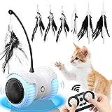 Ewilibe Katzenspielzeug Elektrischer Interaktives Spielzeug Katzen Intelligenzspielzeug 14 in 1 Automatischer Drehender Katzenball mit Fernbedienung USB-Aufladung LED-Lichts Federn Kätzchen Hauskatzen
