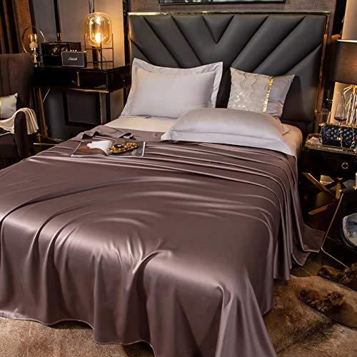 Acogedora sábana plana 100% algodón satinado tamaño doble almohada estándar color rosa 60S Sábanas de cama Queen Ropa de cama algodón para hotel en el hogar (color: tipo 1, tamaño: 200 x 250 cm)