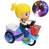 spier Juguete eléctrico de coche, juguete de simulación de tres ruedas con luz de música, giro, triciclo, juguete de dibujos animados, para niños y niñas, universal, para niños pequeños, bebés y niños