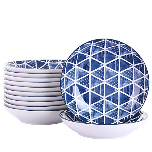 vancasso SASAKI Juego de Platos 24 piezas Platos Hondos, Platos para Sopa Vajillas de Porcelana Pintadas a mano Estilo Japonés