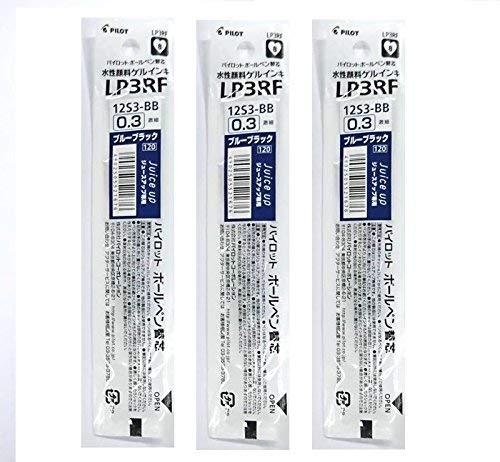 Pilot - Recambio para bolígrafo de tinta de gel para zumo de 0,3 mm, color azul y negro (LP3RF12S3-BB) – apto para LJP-20S3 & LJP-20S4 – Juego de 3 piezas