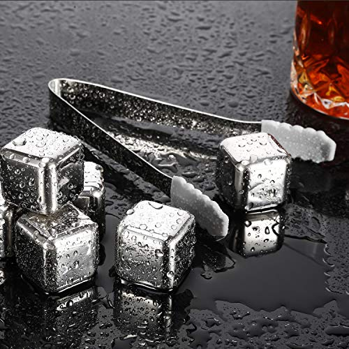 6 Pack Whiskey Stones, Reusable Ice Cubes, Stainless Steel Whiskey Ice Cubes, Chilling Stones with Tongs & Freezer Storage Tray by C Crystal Lemon (6, Silver)