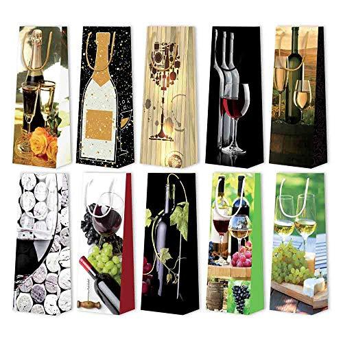 25x 1er Weintragetaschen, Geschenktaschen, Weinmotiv sortiert, 12,3+7,8x36,2 cm