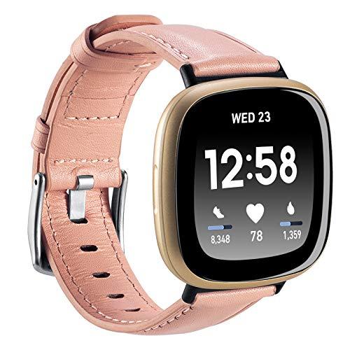 Nigaee Lederarmband für Fitbit Versa 3 & Fitbit Sense Leder Armband kompatibel mit Fitbit Sense/Fitbit Versa 3 Uhrenarmband aus Leder Armbänder Fitbit Versa 3 Erastzarmband Unisex klassisch modern