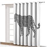 Cortinas de sombra de safari, diseño de camuflaje con estampado de leopardo, diseño de camuflaje, con ojales en blanco y negro, para puerta de cristal