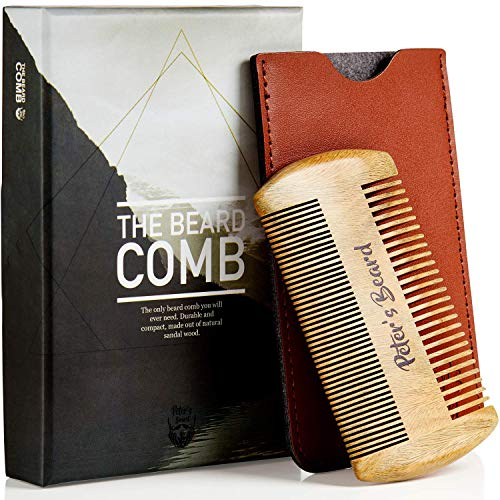 Price comparison product image Beard Comb for Men - Wooden Natural Sandalwood Antistatic No Static Dual Action Beard Comb - Fine & Coarse Tooth Perfect for Balms and Oils Includes PU Leather Case - Presented in Cardboard Gift Box