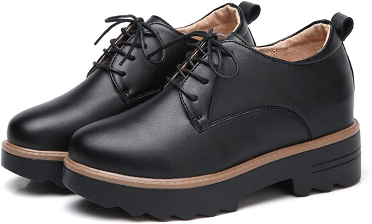 CYBLING Womens Lace Up Leather Perforated Oxfords shoes Casual Platform Wingtip Brogue Sneakers