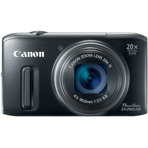 Canon PowerShot SX260 HS 12.1 MP CMOS Digital Camera with 20x Image Stabilized Zoom 25mm Wide-Angle Lens and 1080p Full-HD Video (Black) (OLD MODEL) (Renewed)