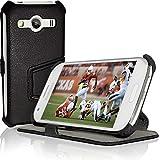 iGadgitz U3537, Funda Protectora de Cuero PU con Soporte + Protector Pantalla, Compatible con Samsung Galaxy Ace 4 SM-GT357FZ, Negro