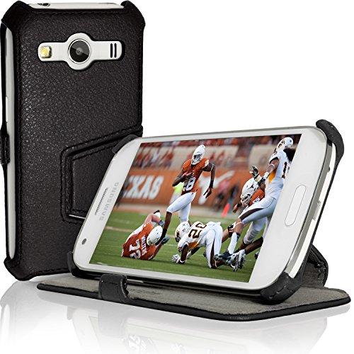 iGadgitz U3537 Premium Folio Eco Pelle Custodia Case Cover Compatibile con Samsung Galaxy Ace 4 SM-GT357FZ con Pellicola - Nero
