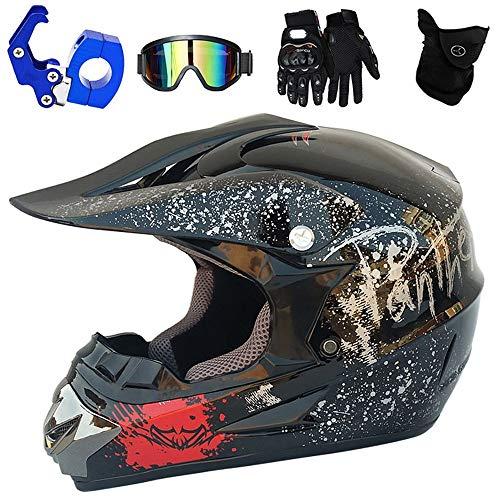 YASE Casco de Motocross Adulto Negro Brillante Cascos de Moto Enduro Motocross...