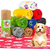 12 Pieces Dog Blanket Fleece Fabric Puppy Blanket with Paw Print Soft Printed Pet Blanket Washable Dog Sleep Mat Pad Bed Cover for Kitten Puppy and Other Small Animals (Multi Color,Classic Pattern)
