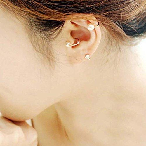 2 pendientes de perlas a la moda TFXWERWS, no son piercings, para el trago, de clip, de abrazadera (oro y plata)