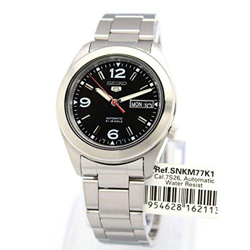 Seiko SNKM77K1 5 Gent Herren-Armbanduhr, automatisch, analog, schwarzes Zifferblatt, graues Stahlarmband