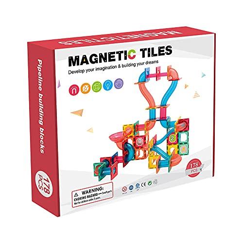 Bloques de construcción de azulejos magnéticos 178 piezas de juego de juguetes para niños, juguetes de construcción de tuberías para niños en 3D, juegos de bloques de construcción creativos y educat