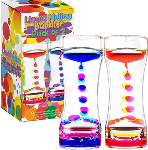 LIVOND Liquid Motion Bubbler Sensory Timer, 2 Minute – Big Calming Sensory Bubble Toy for Kids with Autism ADHD Anxiety or Special Needs (2 Pack)