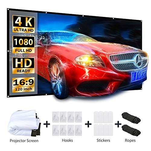Best Buy! VANKYO Projector Screen 120 Inches 16:9 Portable Indoor Outdoor Projection Polyester Spand...