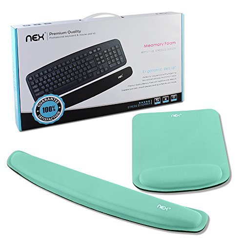 NEX Ergonomic Mouse Pad with Wrist Support, Memory Foam Keyboard Wrist Rest for Computer, Laptop(Mint Green)