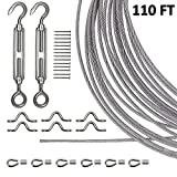 Joddge Stainless Steel Lights Kit, String Light Suspension Kit, Outdoor Light Guide Wire, Includ 110 FT 304 Stainless Steel Wire Rope Cable, Turnbuckle and Hooks