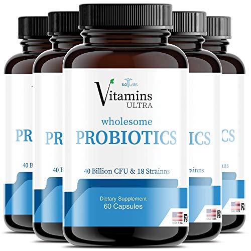 (5 Pack) Vitamins Ultra Wholesome Probiotics 51 Billion CFU and 18 Strains for Women Men