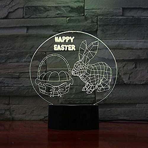 Kerstgeschenk paasanijn LED nachtlampje 3D illusie touch sensor hoom decoratie kind baby nachtlampje haas lamp op bed
