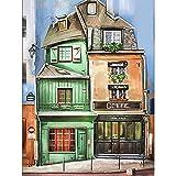 AKmene Pintura de Diamante 5D Edificios de la Ciudad de Dibujos Animados Lienzo preimpreso Decoración hogareña 50x60cm