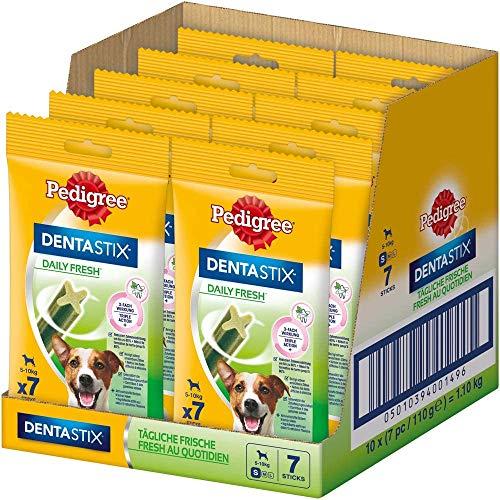 Pedigree DentaStix Daily Fresh Zahnpflegesnack für kleine Hunde – Hundeleckerli mit Aktivwirkstoffen für jeden Tag – Für gesunde Zähne und einen frischen Atem – 70 Sticks (10 x 7 Stück)
