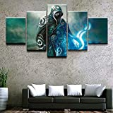 HSART Canvas Pictures Wall Art HD Print Poster 5 Pieces Game Gathering Magic Fantasy Jace Beleren Warrior Modular Painting Home Decor,A,20x30x2+20x50x1+20x40x2