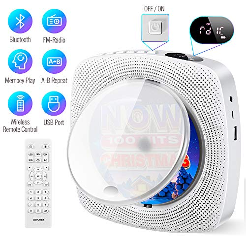 Portable CD Player with Bluetooth Built-in HiFi Speakers, Wall Mountable,...