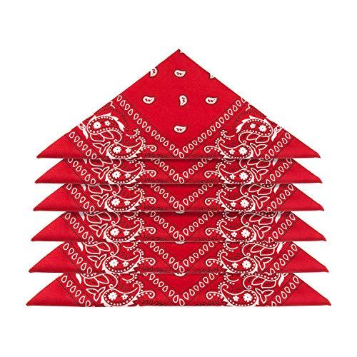 ZWOOS 6er Set Bandana Baumwolle Halstuch Bindetuch Baumwolle Haar Schal Ansatz Handgelenk Verpackungs Band Kopf Bindung, Unisex Mode-Accessoires(55 x 55 cm) (Rot)