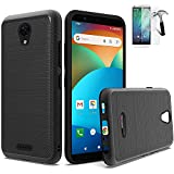 Phone Case Compatible with AT&T Fusion-Z/AT&T Motivate Screen Protector (V341U) / Brush Shock Absorbing Dual-Layered Cover (Brush Black +Tempered Glass)