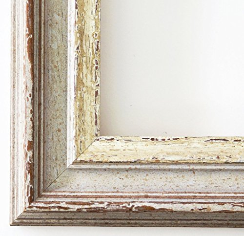 Cornice portafoto Trento, beige, argento, spessore 5,4 cm., Cornice a giorno con vetro museale (protezione UV 45% - antiriflesso), bianco, 105 x 140 cm