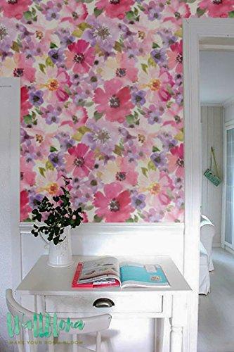 Cosmos Papier peint Motif fleur amovible - Cosmos - Papier Peint Fleur Sticker Mural Papier peint autocollant - Sticker mural - Fleur Cosmos, 53 Cm wide by 121 Cm Tall