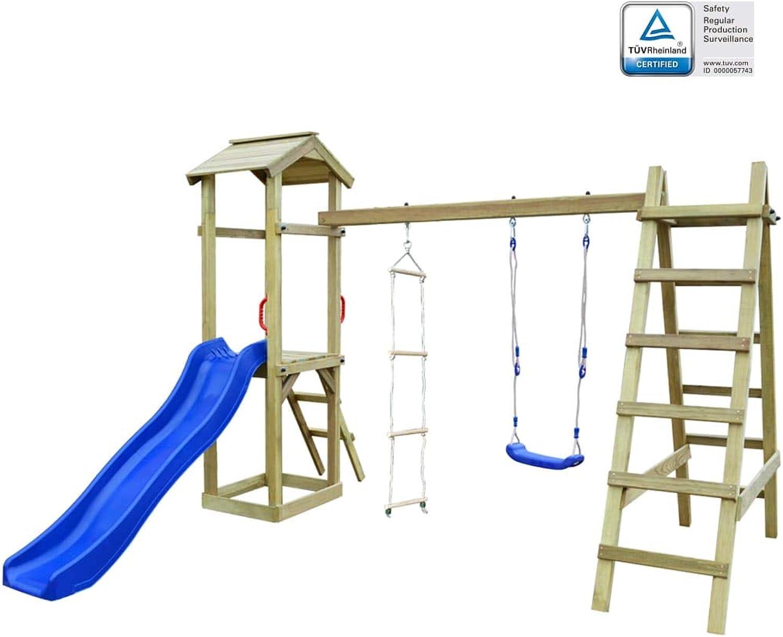 Arichtop vidaXL Spielturm mit Rutsche Leitern Schaukel 286×237×218 cm Holz