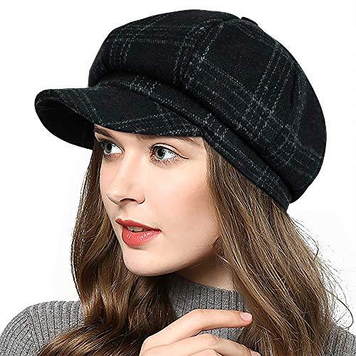 PanPacSight Women's Newsboy Hats Fall Wool Cabbie Beret Tweed Girls Paperboy Cap