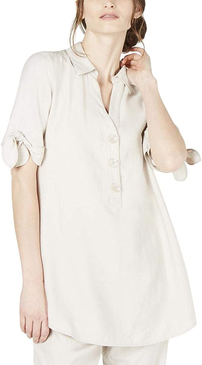 ALFANI Women's Tie-sleeve Tunic Shirt Top