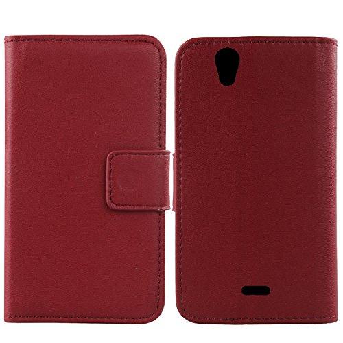 Gukas Design Echt Leder Tasche Für Wiko Birdy 4G Hülle Lederhülle Handyhülle Handy Flip Brieftasche mit Kartenfächer Schutz Protektiv Genuine Premium Hülle Cover Etui Skin (Dark Rot)