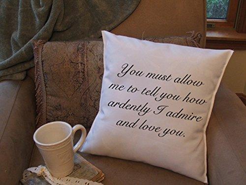 43LenaJon Fundas de almohada de lino y algodón, regalo del día de San Valentín, con cita de Mr. Darcy, funda de almohada con frase 'Pride and Prejuice', decoración de San Valentín