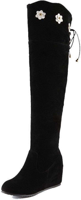 WeenFashion Women's Imitated Suede High-top Solid Zipper Kitten-Heels Boots