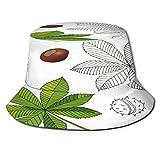 PUIO Sombrero de Pesca,Planta Medicinal Aesculus Buckeye Horse Chestnut,Senderismo para Hombres y Mujeres al Aire Libre Sombrero de Cubo Sombrero para el Sol