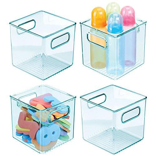 mDesign Juego de 4 cestas organizadoras para cuarto de bebé – Contenedor plástico cuadrado con prácticas asas – Caja para juguetes, peluches o pañales en plástico libre de BPA – azul claro