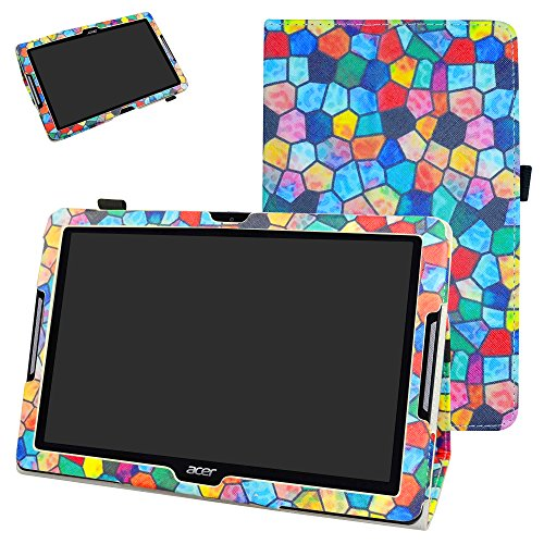 Acer Iconia One 10 B3-A30 Case,Mama Mouth PU Leather Folio 2-folding Stand Cover with Stylus Holder for 10.1' Acer Iconia One 10 B3-A30 Android Tablet,Stained Glass