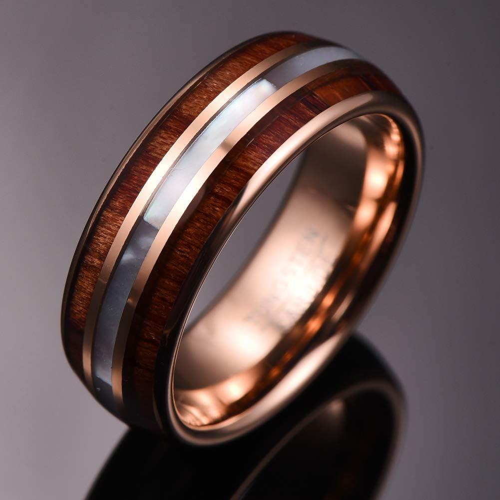 VAKKI 8mm Hawaiian Koa Wood Tungsten Rings Mother of Pearl Shell Wedding Band Comfor Fit Size 7-12