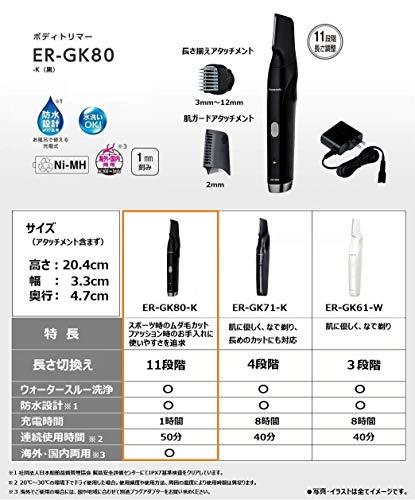 パナソニックボディトリマーお風呂剃り可海外対応男性用黒ER-GK80-K