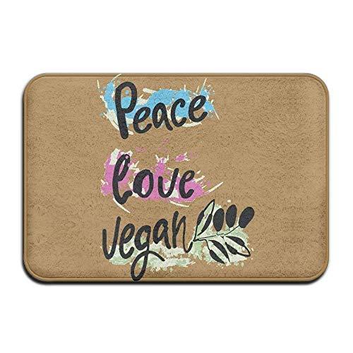 Klotr Tapis De Bain, Peace Love Vegan Non-Slip Outside/Inside Door Mat Rug for Health and Wellness Offices Entrance Rug 23.6\