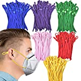OWS 300pcs Elastic String for Masks Elastic Band with Adjustable Buckle ,Stretchy Earloop Fabric Tie Lanyard Rope for DIY Sewing 6 Colors (300pcs Mixed Colors)